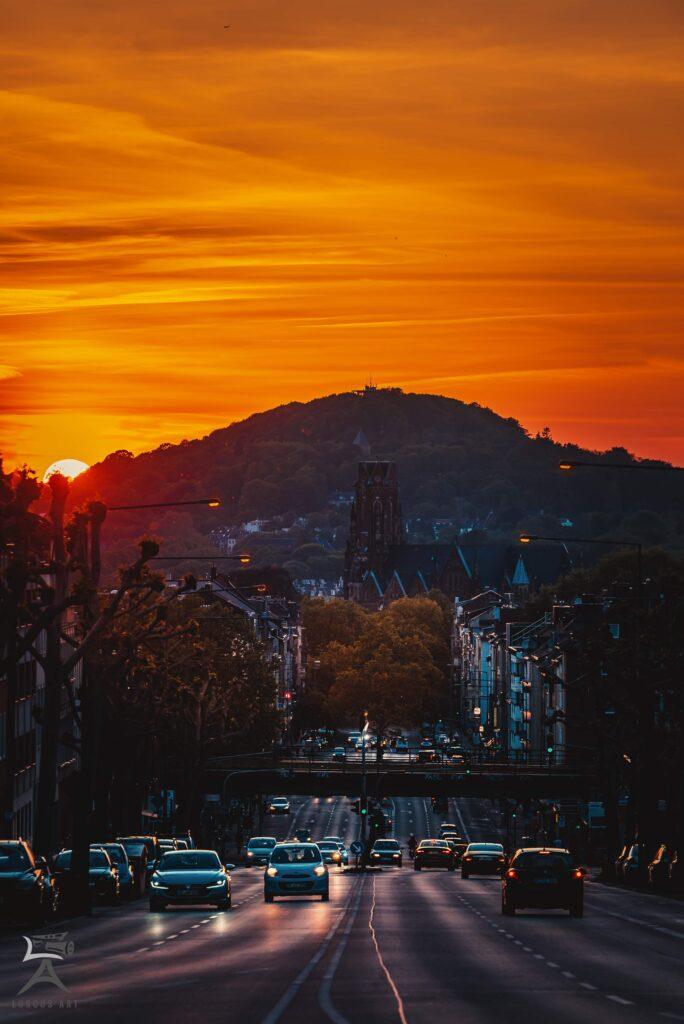 Aachen Triererstr. Sonnenuntergang Blick zum Lousberg